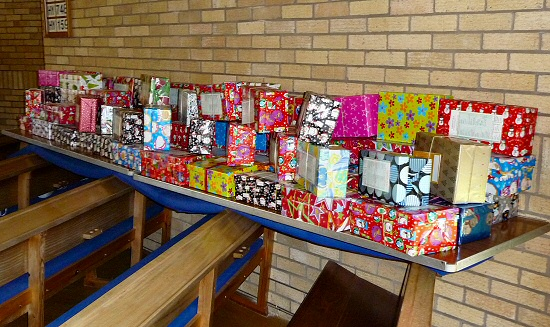 Shoeboxes ready for collection<