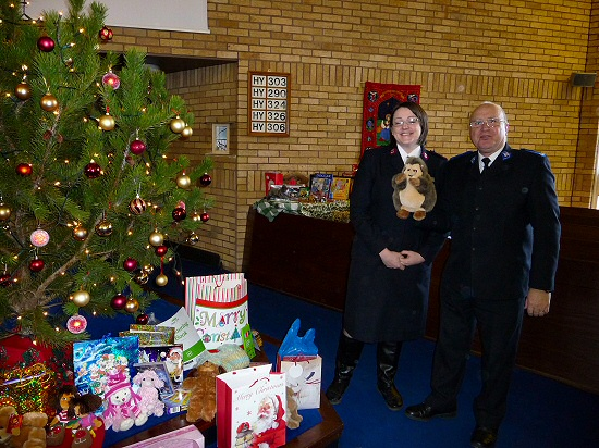 The Salvation Army receives toys for Christmas distribution in the local area